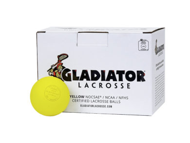 Gladiator Lacrosse® Box of 12 OFFICIAL Lacrosse Game Balls – Yellow – Meets NOCSAE STANDARDS, SEI CERTIFIED